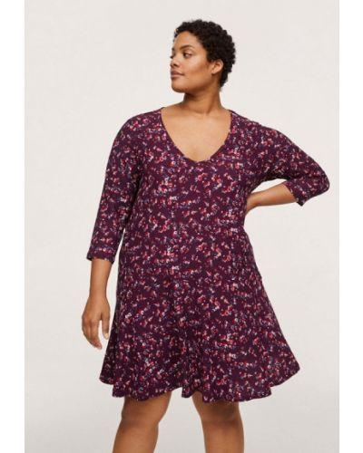 Бордовое платье осеннее Violeta By Mango