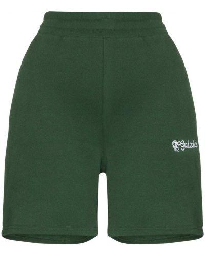 Zielone szorty bawełniane z haftem Danielle Guizio