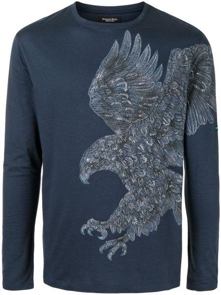 Niebieska bluza z długimi rękawami bawełniana Stefano Ricci