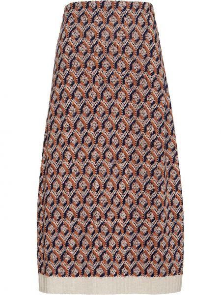 Вязаная оранжевая шерстяная с завышенной талией юбка миди Prada