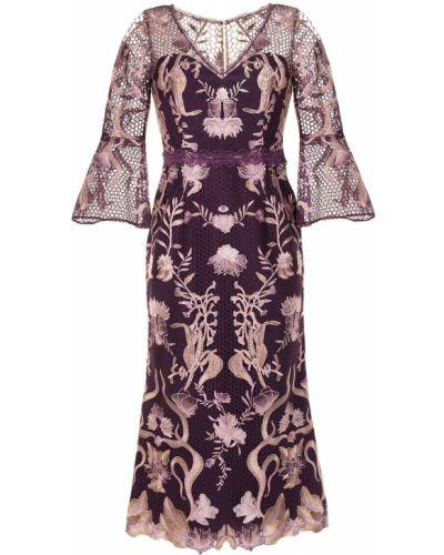 Платье с вышивкой - черное Marchesa Notte