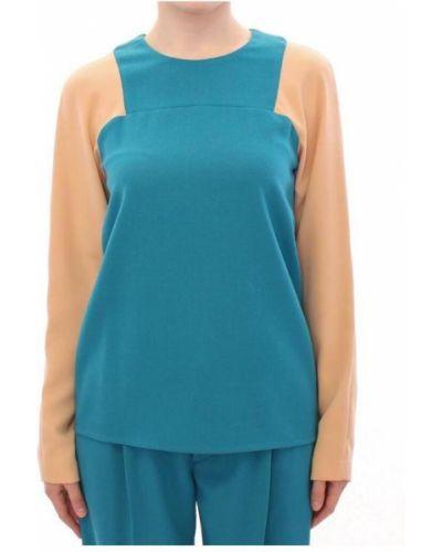 Niebieski długi sweter wełniany z długimi rękawami Cote