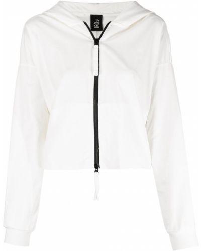Белая короткая куртка с капюшоном на молнии Thom Krom