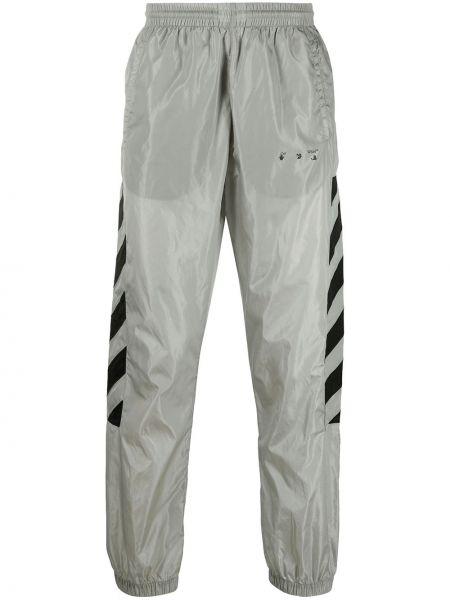 Nylon czarny spodnie z paskami Off-white