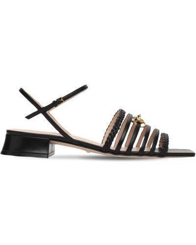 Czarne sandały skorzane klamry Gucci