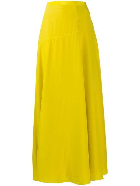 Шелковая желтая асимметричная юбка с драпировкой Theory