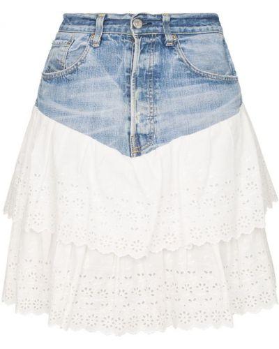 Синяя джинсовая юбка с поясом винтажная One Vintage