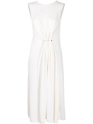 Белое платье миди без рукавов с вырезом из вискозы Victoria Beckham