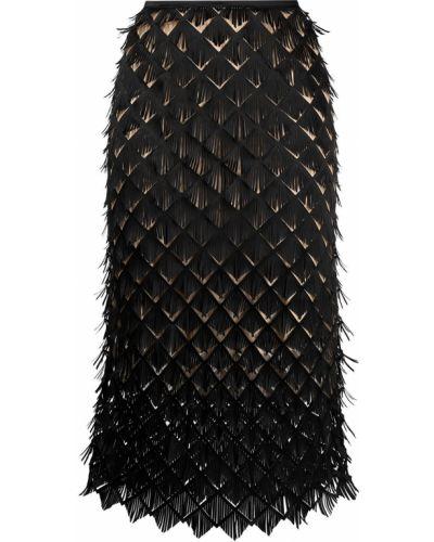 С завышенной талией черная юбка миди на молнии Paskal