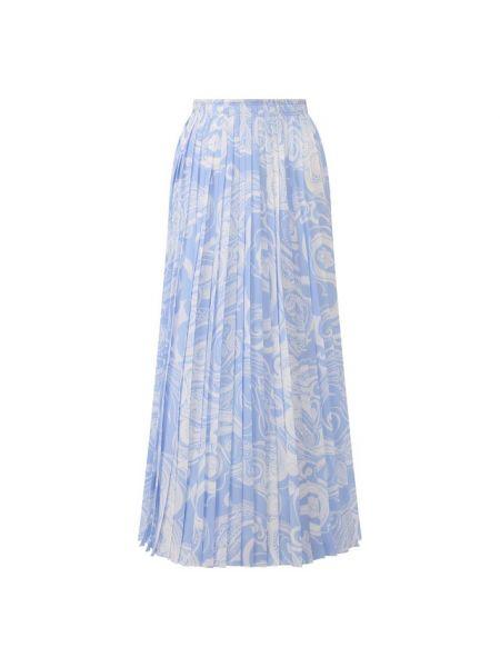 Шелковая синяя юбка миди в рубчик с подкладкой Escada