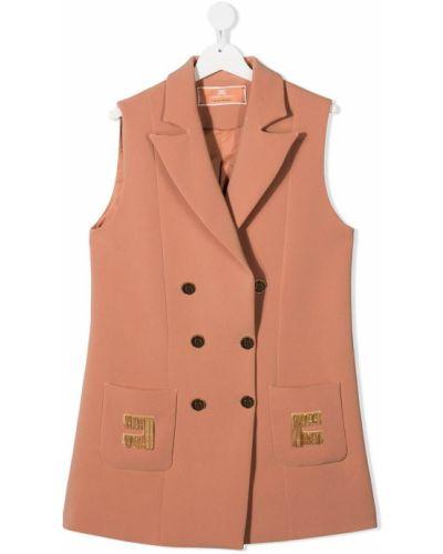 Розовая жилетка без рукавов на пуговицах Elisabetta Franchi La Mia Bambina