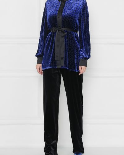 Блузка с длинным рукавом с поясом шелковая Marina Rinaldi