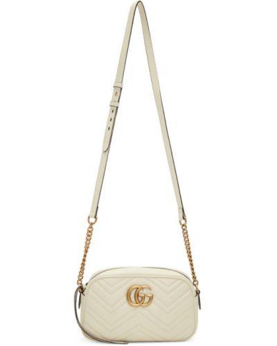 Biały skórzany torebka na łańcuszku z kieszeniami z łatami Gucci
