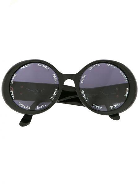 Золотистые черные солнцезащитные очки круглые Chanel Pre-owned