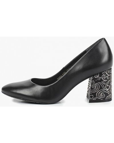 Туфли на каблуке черные кожаные Indiana