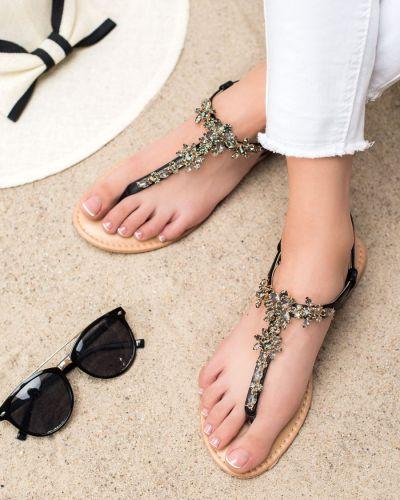 Czarne sandały eleganckie z cyrkoniami Small Swan