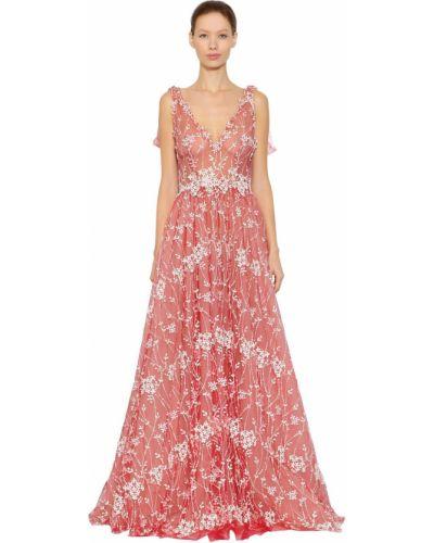 Приталенное платье с вышивкой из фатина Luisa Beccaria