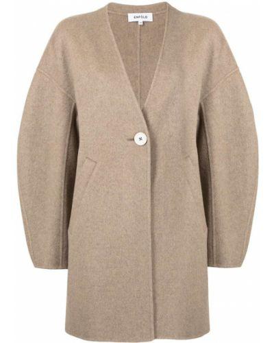 Długi płaszcz wełniany - brązowy Enfold