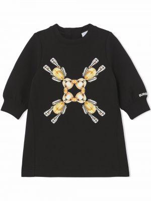 Czarna T-shirt z nadrukiem z printem Burberry Kids