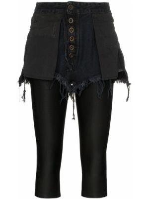 Хлопковые черные короткие шорты на пуговицах двусторонние Unravel Project