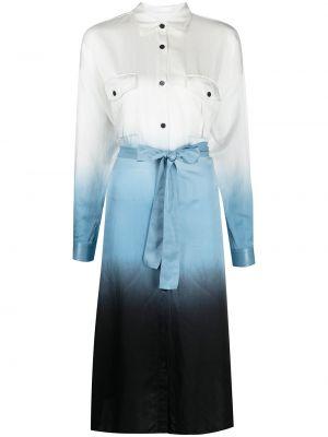 С рукавами шелковое синее платье миди Boss Hugo Boss