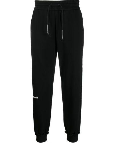 Спортивные черные зауженные брюки с манжетами бязевые Wwwm