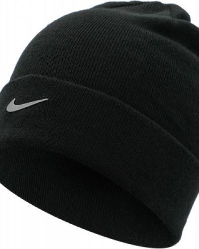 Акриловая черная шапка с отворотом Nike