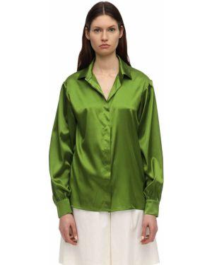 Klasyczna zielona satynowa klasyczna koszula Lesyanebo