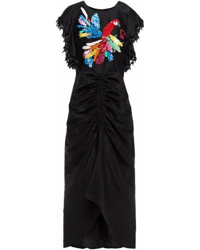 Шелковое платье миди - черное Kate Spade New York
