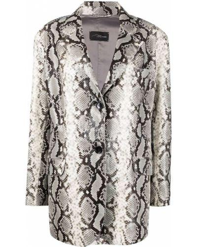 Серый кожаный удлиненный пиджак с воротником Manokhi
