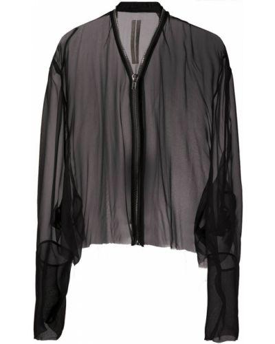 Czarna długa kurtka skórzana z długimi rękawami Rick Owens
