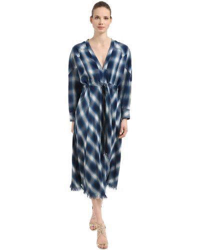Хлопковое платье миди - синее Jonathan Simkhai