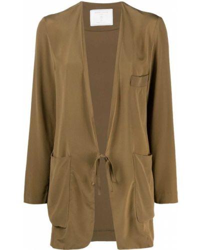 Шелковый с рукавами коричневый удлиненный пиджак SociÉtÉ Anonyme