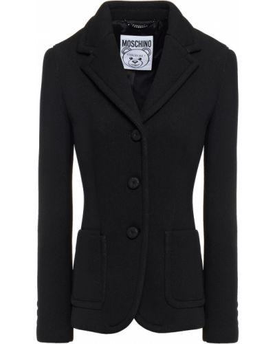 Черный пиджак с карманами с заплатками Moschino