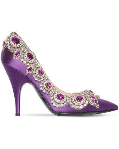 Фиолетовые кожаные туфли-лодочки на каблуке Moschino