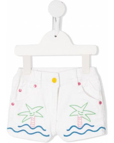 Хлопковые белые джинсовые шорты с вышивкой Stella Mccartney Kids