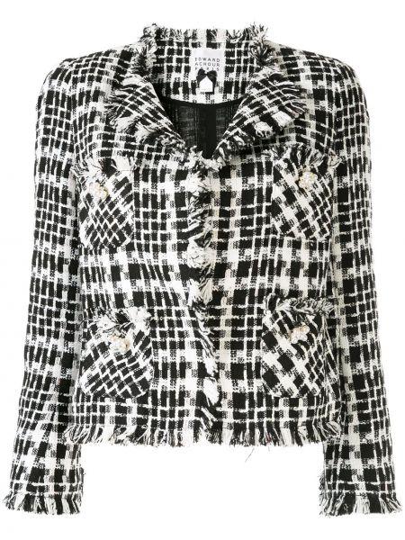 Черный пиджак твидовый с карманами Edward Achour Paris