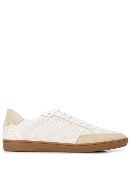 Skórzany sneakersy perforowany złoto zasznurować Saint Laurent