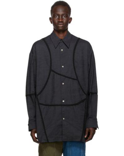 Bawełna bawełna z rękawami czarny koszula oxford Namesake