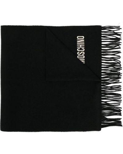 Шерстяной черный шарф с вышивкой Moschino Pre-owned