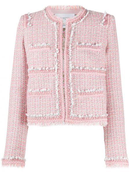 Ватная розовая длинная куртка твидовая с длинными рукавами Giambattista Valli