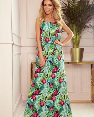 Zielona sukienka w kwiaty materiałowa Numoco