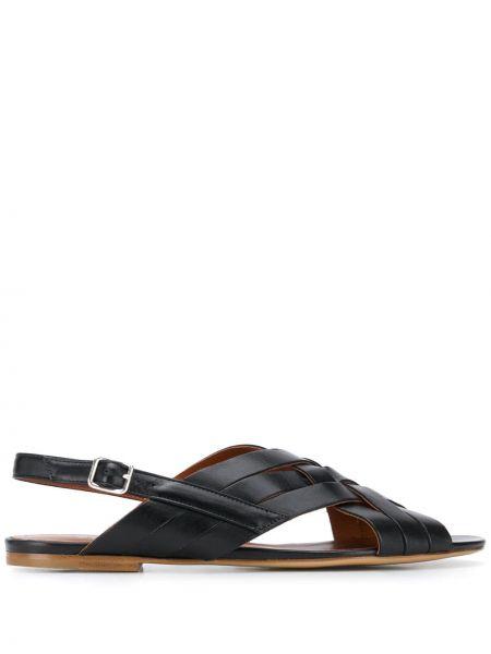 Черные кожаные с ремешком сандалии Michel Vivien