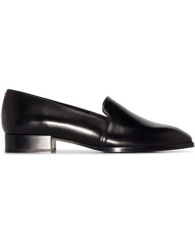 Czarne loafers skorzane z bursztynem Aeyde