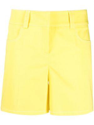 Желтые хлопковые с завышенной талией шорты Boutique Moschino
