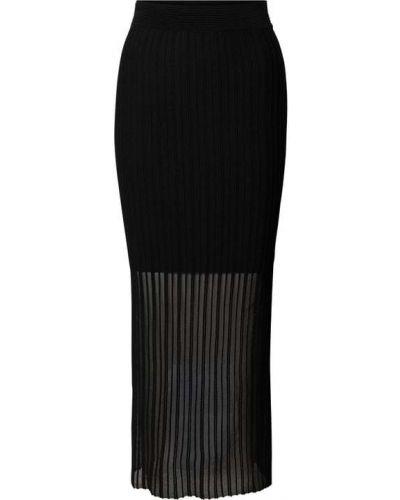 Czarna spódnica maxi w paski z wiskozy Hugo