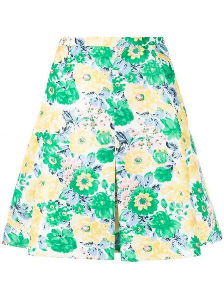 Zielona spódnica mini z wysokim stanem bawełniana Plan C