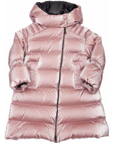 Розовый нейлоновый пуховик Moncler