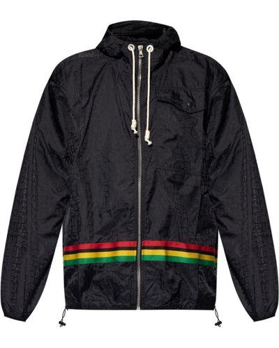 Czarna kurtka sportowa pikowana w paski Palm Angels
