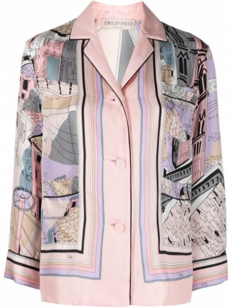 Розовая шелковая с рукавами рубашка Emilio Pucci